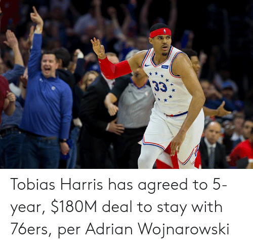 Philadelphia 76ers, Tobias Harris, and Harris: 33 Tobias Harris has agreed to 5-year, $180M deal to stay with 76ers, per Adrian Wojnarowski