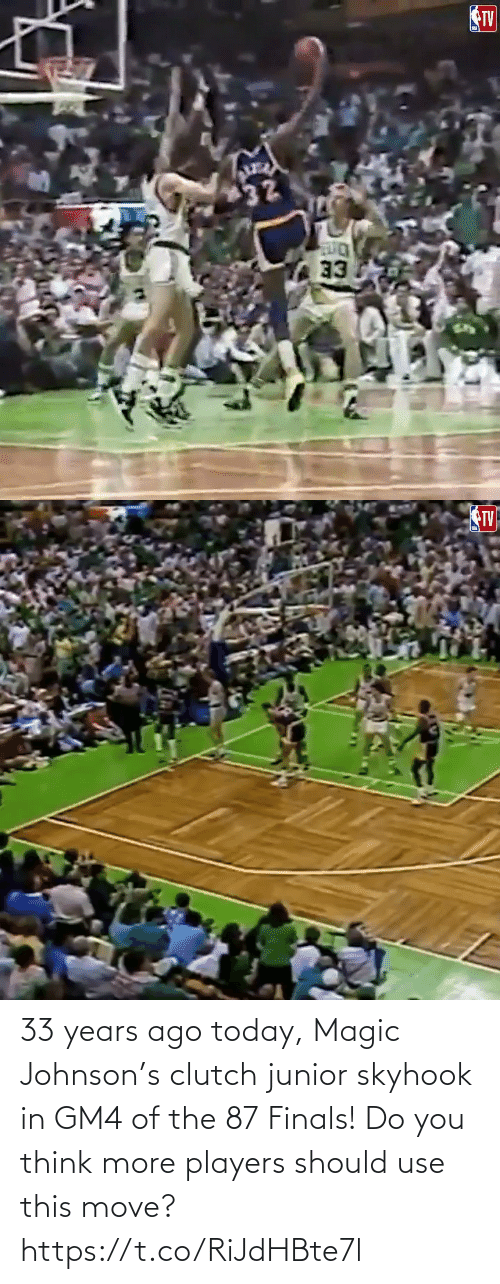 use: 33 years ago today, Magic Johnson's clutch junior skyhook in GM4 of the 87 Finals!   Do you think more players should use this move?   https://t.co/RiJdHBte7l