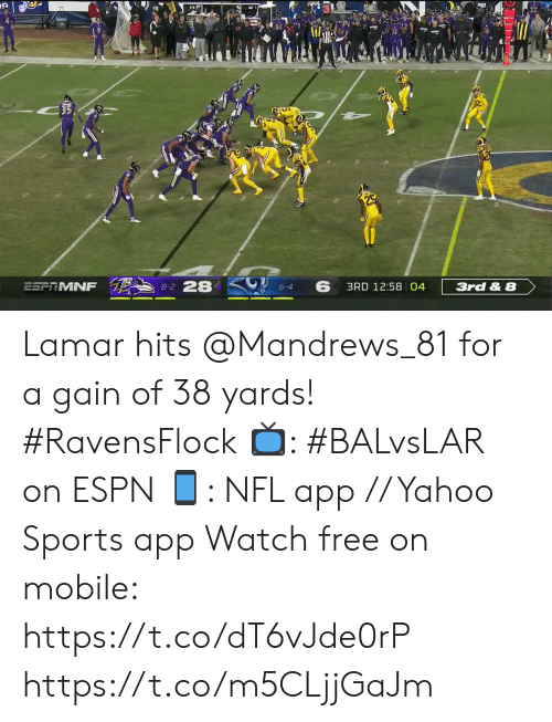 gain: 35  8-2 28  6  ESFRMNF  3RD 12:58 04  3rd & 8  6-4 Lamar hits @Mandrews_81 for a gain of 38 yards! #RavensFlock  📺: #BALvsLAR on ESPN 📱: NFL app // Yahoo Sports app Watch free on mobile: https://t.co/dT6vJde0rP https://t.co/m5CLjjGaJm