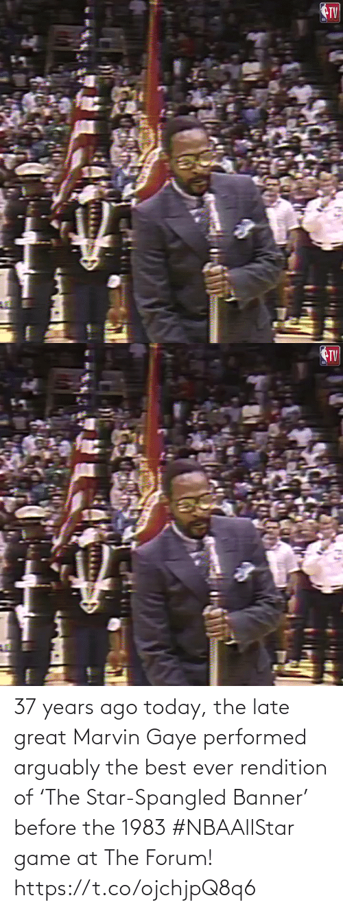 Game: 37 years ago today, the late great Marvin Gaye performed arguably the best ever rendition of 'The Star-Spangled Banner' before the 1983 #NBAAllStar game at The Forum!    https://t.co/ojchjpQ8q6