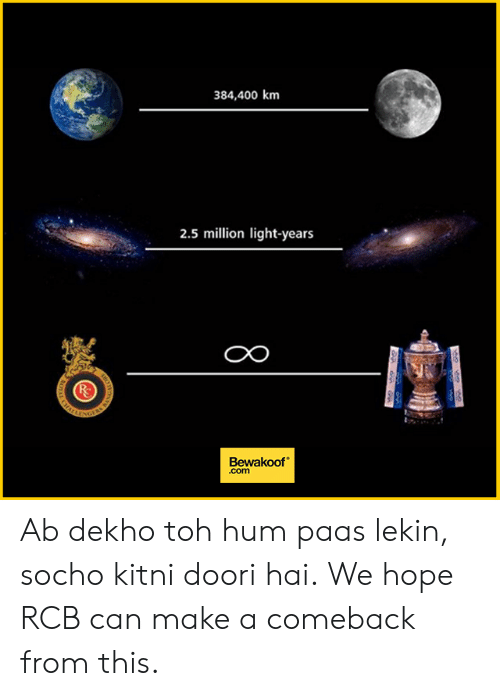 Memes, Hope, and 🤖: 384,400 km  2.5 million light-years  CO  Bewakoof  .com Ab dekho toh hum paas lekin, socho kitni doori hai. We hope RCB can make a comeback from this.