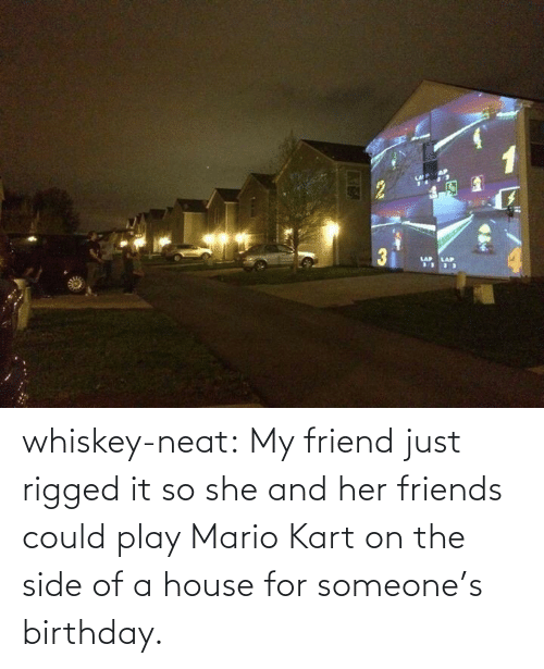 Could Play: 3EA whiskey-neat:  My friend just rigged it so she and her friends could play Mario Kart on the side of a house for someone's birthday.