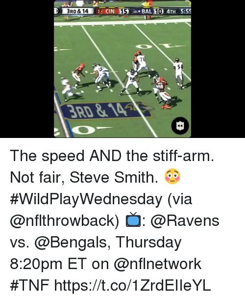 Memes, Steve Smith, and Bengals: 3RD &14  54 The speed AND the stiff-arm.  Not fair, Steve Smith. 😳 #WildPlayWednesday (via @nflthrowback)  📺: @Ravens vs. @Bengals, Thursday 8:20pm ET on @nflnetwork #TNF https://t.co/1ZrdEIIeYL