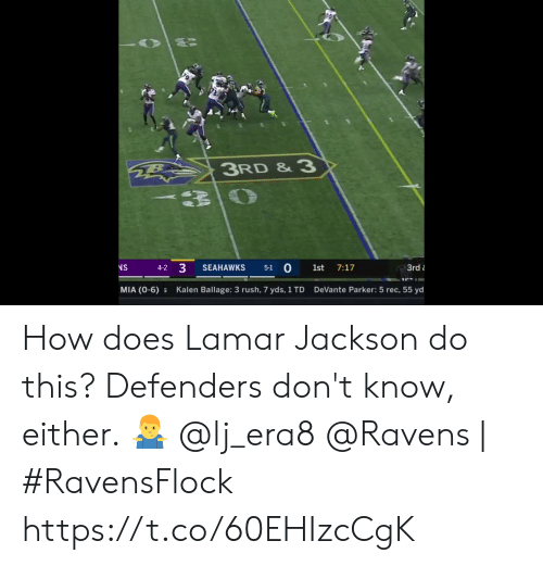 Memes, Ravens, and Rush: 3RD & 3  3  0  NS  SEAHAWKS  1st  7:17  3rd  4-2  5-1  MIA (0-6)  DeVante Parker: 5 rec, 55 yd  Kalen Ballage: 3 rush, 7 yds, 1 TD How does Lamar Jackson do this?   Defenders don't know, either. 🤷‍♂️  @lj_era8  @Ravens | #RavensFlock https://t.co/60EHIzcCgK