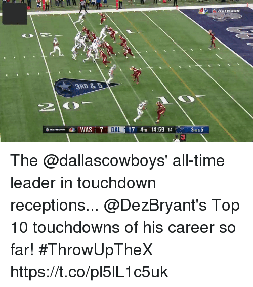 Memes, Time, and 🤖: 3RD &5  Mrrw ameala. WAS: 7 TILE 17 4TH 14:59 14  3RD & 5 The @dallascowboys' all-time leader in touchdown receptions...  @DezBryant's Top 10 touchdowns of his career so far! #ThrowUpTheX https://t.co/pl5lL1c5uk