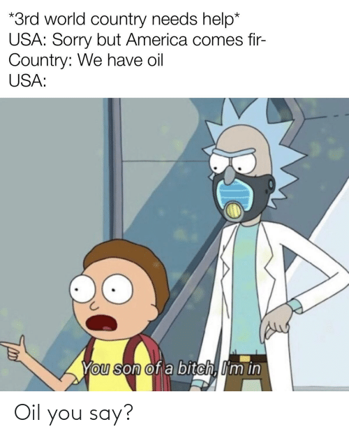 America, Bitch, and Sorry: *3rd world country needs help*  USA: Sorry but America comes fir-  Country: We have oil  USA:  You son of a bitch, I'm in Oil you say?