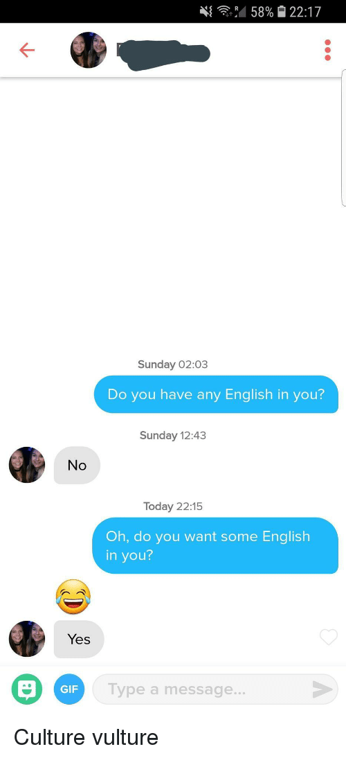Vulture: 4{ ,4 58% 22:17  Sunday 02:03  Do you have any English in you?  Sunday 12:43  No  Today 22:15  Oh, do you want some English  in you?  Yes  GIF  Type a message. Culture vulture