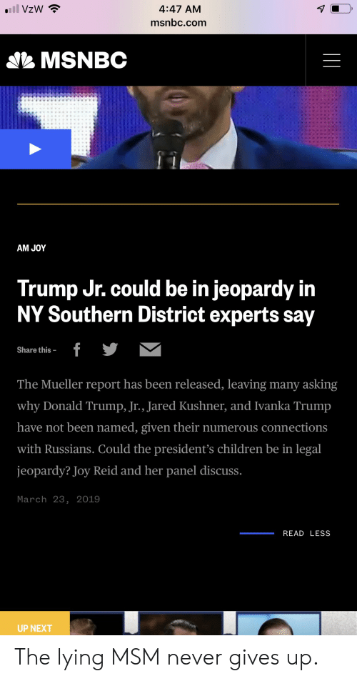 Children, Donald Trump, and Jeopardy: 4:47 AM  msnbc.comm  MSNBC  AM JOY  could be in jeopardy in  Trump Ur.  NY Southern District experts say  Share this  The Mueller report has been released, leaving many asking  why Donald Trump, Jr., Jared Kushner, and Ivanka Trump  have not been named, given their numerous connection:s  with Russians. Could the president's children be in legal  jeopardy? Joy Reid and her panel discuss.  March 23, 2019  READ LESS  UP NEXT The lying MSM never gives up.
