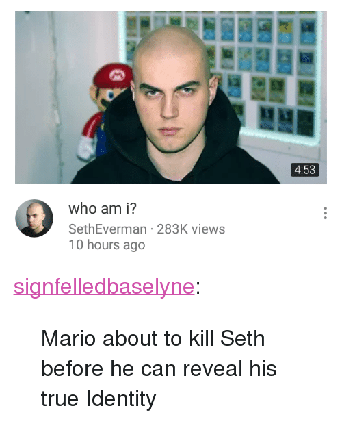 """True, Tumblr, and Who Am I: 4:53  who am i?  SethEverman 283K views  10 hours ago <p><a href=""""http://signfelledbaselyne.tumblr.com/post/168708209615/mario-about-to-kill-seth-before-he-can-reveal-his"""" class=""""tumblr_blog"""">signfelledbaselyne</a>:</p><blockquote><p>Mario about to kill Seth before he can reveal his true Identity</p></blockquote>"""