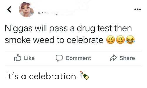 Smoke Weed: 4 n  Niggas will pass a drug test then  smoke weed to celebrate  Like  Share  Comment It's a celebration 🍾