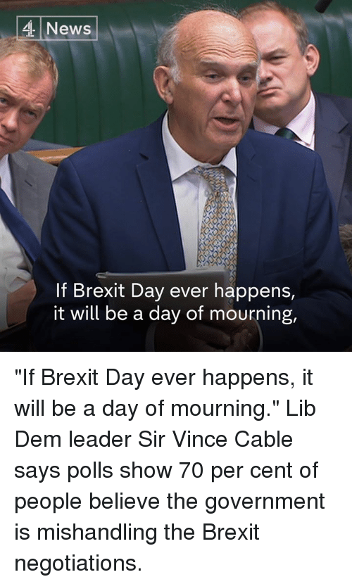 "Memes, News, and Cent: 4 News  If Brexit Day ever happens,  it will be a day of mourning, ""If Brexit Day ever happens, it will be a day of mourning.""  Lib Dem leader Sir Vince Cable says polls show 70 per cent of people believe the government is mishandling the Brexit negotiations."