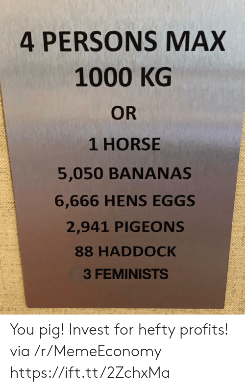 hefty: 4 PERSONS MAX  1000 KG  OR  1 HORSE  5,050 BANANAS  6,666 HENS EGGS  2,941 PIGEONS  88 HADDOCK  3 FEMINISTS You pig! Invest for hefty profits! via /r/MemeEconomy https://ift.tt/2ZchxMa