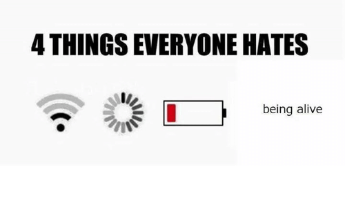 Hateness: 4 THINGSEVERYONE HATES  being alive