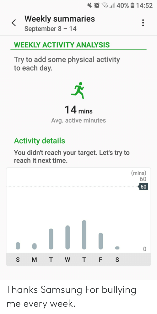 Target, Samsung, and Time: 40%14:52  Weekly summaries  September 8 14  WEEKLY ACTIVITY ANALYSIS  Try to add some physical activity  to each day.  14 mins  Avg. active minutes  Activity details  You didn't reach your target. Let's try to  reach it next time.  |(mins)  60  60  0  S M T  W T F S Thanks Samsung For bullying me every week.