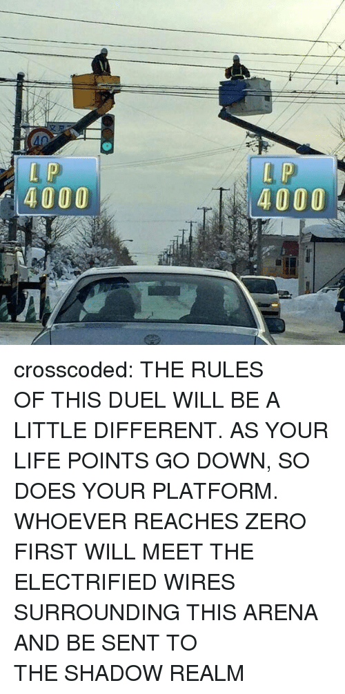 Life, Target, and Tumblr: 4000  4000 crosscoded: THE RULES OF THIS DUEL WILL BE A LITTLE DIFFERENT. AS YOUR LIFE POINTS GO DOWN, SO DOES YOUR PLATFORM. WHOEVER REACHES ZERO FIRST WILL MEET THE ELECTRIFIED WIRES SURROUNDING THIS ARENA AND BE SENT TO THE SHADOW REALM