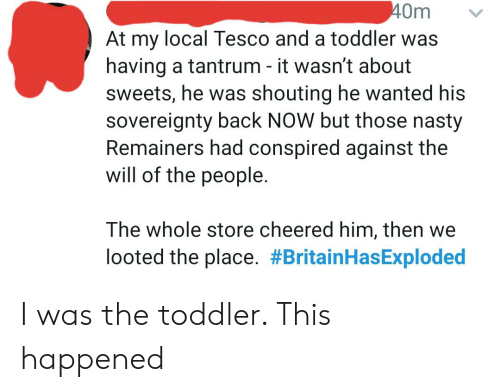 Nasty, Thathappened, and Back: 40m  At my local Tesco and a toddler was  having a tantrum - it wasn't about  sweets, he was shouting he wanted his  sovereignty back NOW but those nasty  Remainers had conspired against the  will of the people.  The whole store cheered him, then we  looted the place. I was the toddler. This happened
