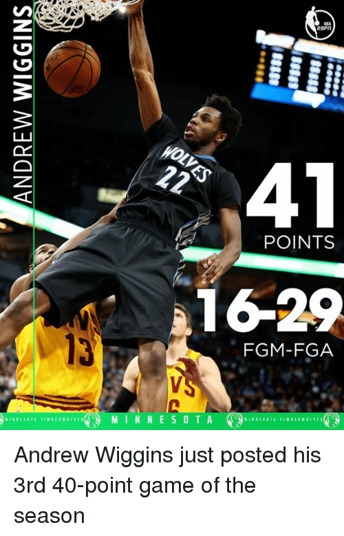 Memes, Andrew Wiggins, and 🤖: 41  POINTS  1629  FGM-FGA  M I N N E S O T A Andrew Wiggins just posted his 3rd 40-point game of the season