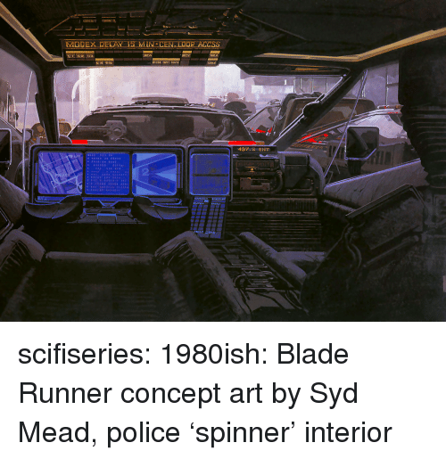 blade runner: 437.2 ENT scifiseries:  1980ish: Blade Runner concept art by Syd Mead, police 'spinner' interior