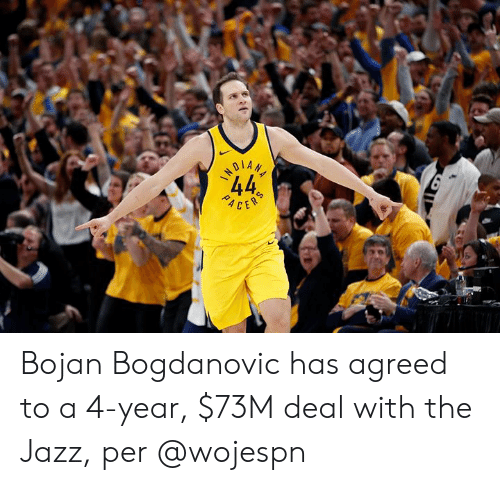 acer: 44  ACER Bojan Bogdanovic has agreed to a 4-year, $73M deal with the Jazz, per @wojespn