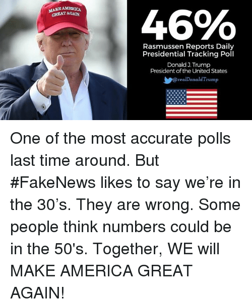 America, Time, and Trump: 446%  MAKE AMERICA  GREATAGAN  Rasmussen Reports Daily  Presidential Tracking Poll  Donald J. Trump  President of the United States  realDonaldTrump  L1222 One of the most accurate polls last time around. But #FakeNews likes to say we're in the 30's. They are wrong. Some people think numbers could be in the 50's. Together, WE will MAKE AMERICA GREAT AGAIN!