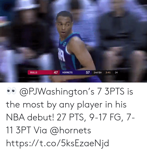 debut: 47  BULLS  HORNETS  2nd Qtr  24  3:41  57 👀 @PJWashington's 7 3PTS is the most by any player in his NBA debut!   27 PTS, 9-17 FG, 7-11 3PT Via @hornets  https://t.co/5ksEzaeNjd