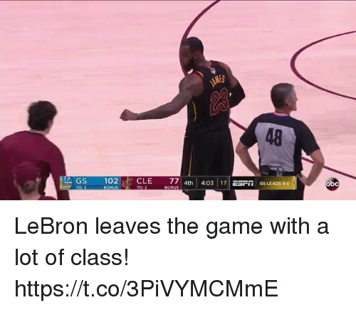 Abc, Memes, and The Game: 48  GS 102  CLE 77 4th 40317 ESrm GS LEADs so  abc LeBron leaves the game with a lot of class!  https://t.co/3PiVYMCMmE