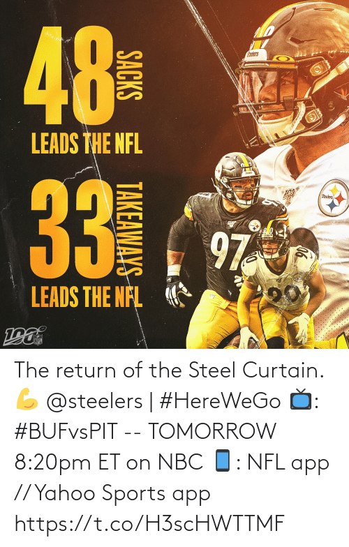 Steelers: 48  NO  alers  LEADS THE NFL  Steeers  33  Steelers  97  LEADS THE NFL  NFL  ((4)  SACKS  TAKEAWAYS The return of the Steel Curtain. 💪  @steelers | #HereWeGo  📺: #BUFvsPIT -- TOMORROW 8:20pm ET on NBC 📱: NFL app // Yahoo Sports app https://t.co/H3scHWTTMF