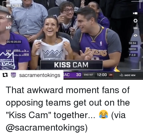 """Fanli: 4K  MF  DO 16:35:20  59.94  1985K  CH1  Jllllllll.IIIII.tr  F 2.8  in Il  AITETTO  KISS CAM  tu sacramentokings  AC  30 END IST 12:00  24 SKEYE VIEW That awkward moment fans of opposing teams get out on the """"Kiss Cam"""" together... 😂 (via @sacramentokings)"""