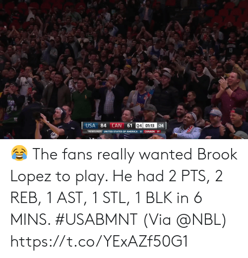 America, Memes, and Canada: 4ST  ST  AcC  61 04 01:13 24  USA  84 CAN  REBOUNDS UNITED STATES OF AMERICA 51 CANADA 31 ? The fans really wanted Brook Lopez to play.   He had 2 PTS, 2 REB, 1 AST, 1 STL, 1 BLK in 6 MINS. #USABMNT  (Via @NBL)    https://t.co/YExAZf50G1