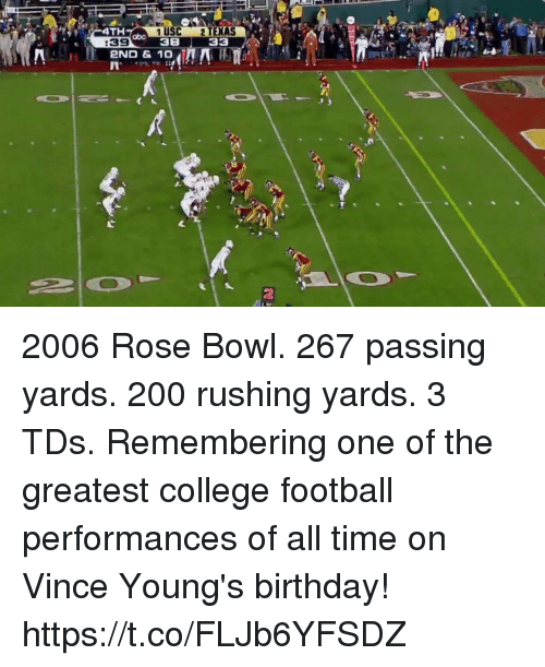 College football: 4TH  1 USC 2 TEXAS  38 33  abo  :39  2ND & 10  2 2006 Rose Bowl. 267 passing yards. 200 rushing yards. 3 TDs.  Remembering one of the greatest college football performances of all time on Vince Young's birthday! https://t.co/FLJb6YFSDZ