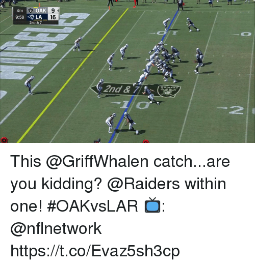 Memes, Raiders, and 🤖: 4TH OAK  9:58LA  16  2ND & 7  -2  1 This @GriffWhalen catch...are you kidding?  @Raiders within one! #OAKvsLAR  📺: @nflnetwork https://t.co/Evaz5sh3cp
