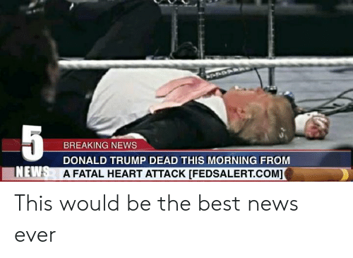 Donald Trump, News, and Best: 5  BREAKING NEWS  DONALD TRUMP DEAD THIS MORNING FROM  INEWS  A FATAL HEART ATTACK [FEDSALERT.COM] This would be the best news ever