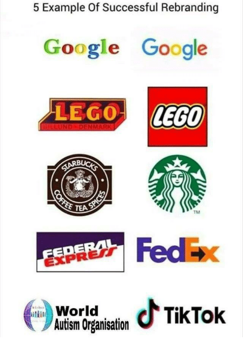 Fedex: 5 Example Of Successful Rebranding  Google Google  LEGO LEGO  TEA  TM  EDE  EXPRERT  FedEx  WoraTkTok  Autism Organisation