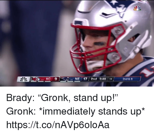 "Football, Nfl, and Sports: 5 KC 9  NE17 2nd 3:48 :14  2nd & 8  5-0  3-2 Brady: ""Gronk, stand up!""   Gronk: *immediately stands up*  https://t.co/nAVp6oloAa"