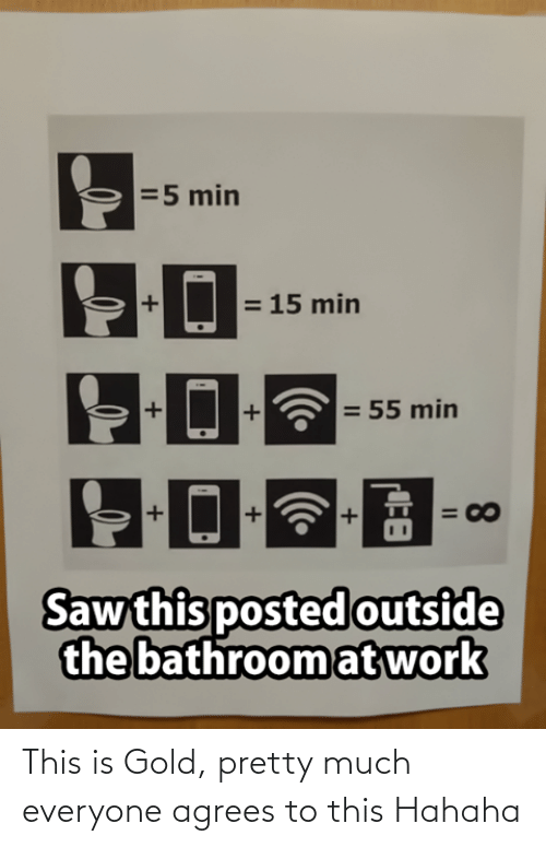 min: =5 min  = 15 min  = 55 min  = 00  Saw this posted outside  the bathroom at work  8.  II This is Gold, pretty much everyone agrees to this Hahaha