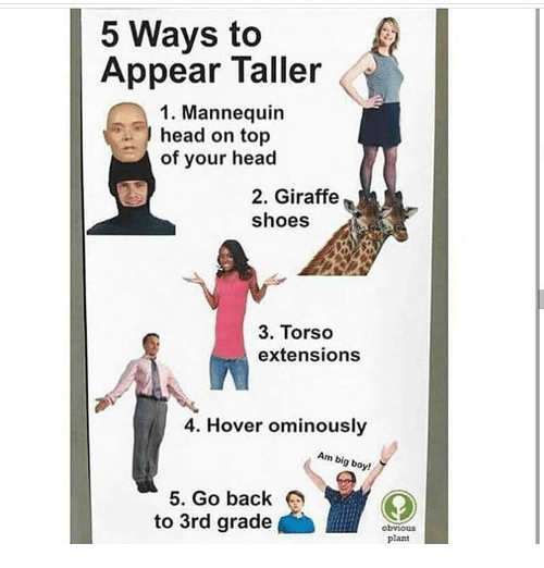 Head, Memes, and Shoes: 5 Ways to  Appear Taller  1. Mannequin  head on top  of your head  2. Giraffe  shoes  3. Torso  extensions  4. Hover ominously  Am big boy!  5. Go back  to 3rd grade  obvious  plant