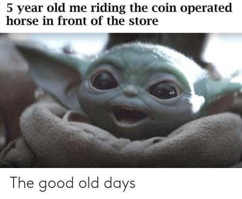 Year Old: 5 year old me riding the coin operated  horse in front of the store The good old days