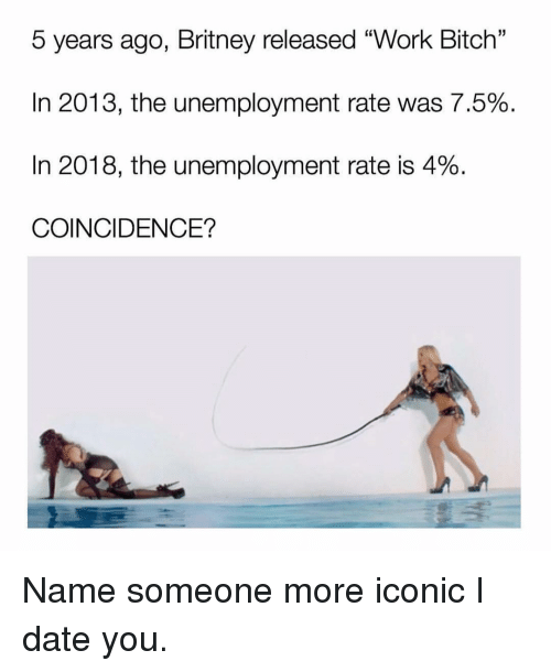 """Bitch, Work, and Date: 5 years ago, Britney released """"Work Bitch'""""  In 2013, the unemployment rate was 7.5%  In 2018, the unemployment rate is 4%  COINCIDENCE?  13 Name someone more iconic I date you."""