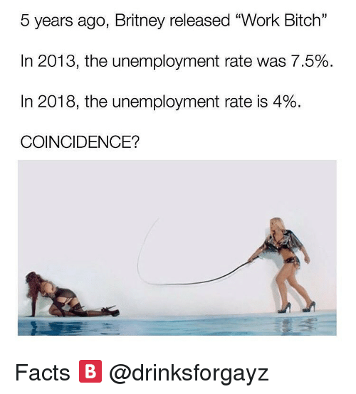 """Bitch, Dank, and Facts: 5 years ago, Britney released """"Work Bitch'""""  In 2013, the unemployment rate was 7.5%  In 2018, the unemployment rate is 4%  COINCIDENCE? Facts 🅱️ @drinksforgayz"""