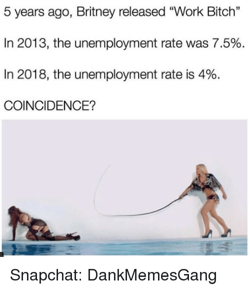 """Bitch, Memes, and Snapchat: 5 years ago, Britney released """"Work Bitch""""  In 2013, the unemployment rate was 7.5%  In 2018, the unemployment rate is 4%.  COINCIDENCE? Snapchat: DankMemesGang"""