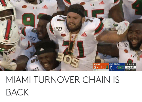 chain: '50  addos  150  50  BO5  13:18  8 FLORIDA  MIAMI  1st & 10  25  3 U7  2nd MIAMI TURNOVER CHAIN IS BACK