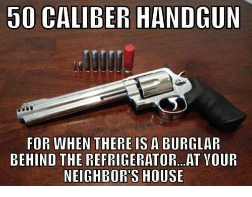 Burglarer: 50 CALIBER HANDGUN  FOR WHEN THERE IS A BURGLAR  BEHIND THE REFRIGERATOR... AT VOUR  NEIGHBORS HOUSE