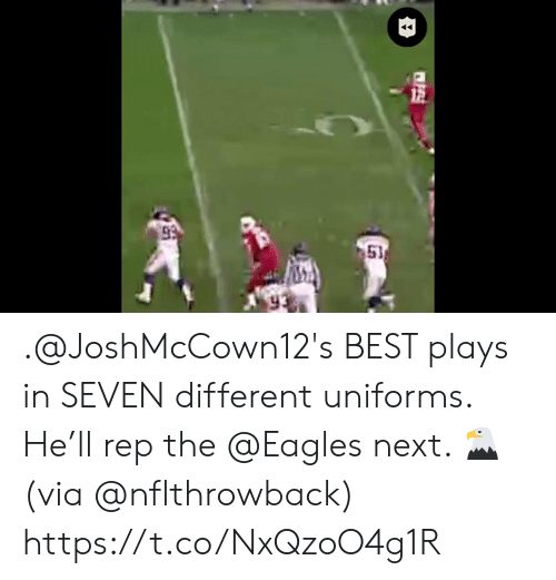 Philadelphia Eagles, Memes, and Best: 51 .@JoshMcCown12's BEST plays in SEVEN different uniforms.  He'll rep the @Eagles next. 🦅(via @nflthrowback) https://t.co/NxQzoO4g1R