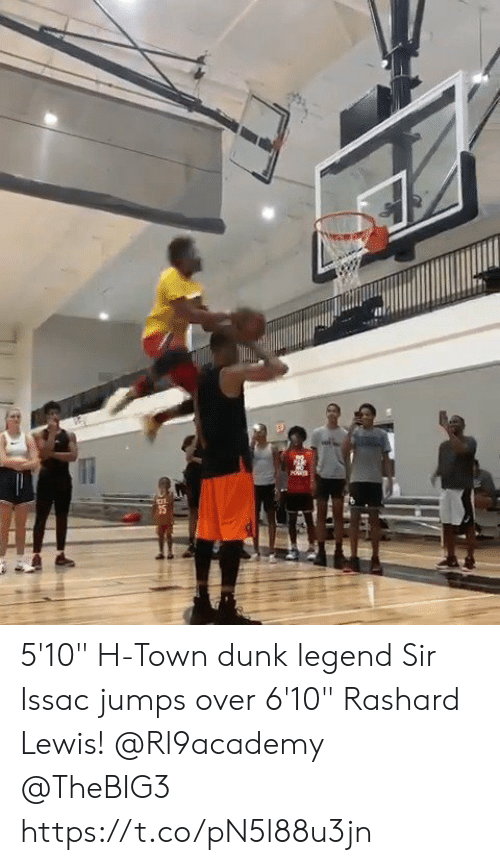 "Dunk, Memes, and H-Town: 5'10"" H-Town dunk legend Sir Issac jumps over 6'10"" Rashard Lewis!  @Rl9academy @TheBIG3 https://t.co/pN5l88u3jn"