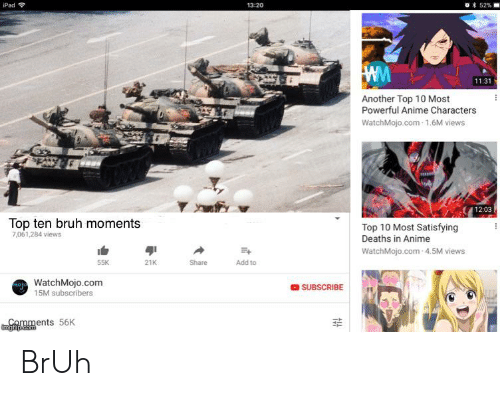 Most Powerful Anime Characters: 52%  iPad  13:20  Ww  11:31  Another Top 10 Most  Powerful Anime Characters  WatchMojo.com-1.6M views  12:03  Top ten bruh moments  Top 10 Most Satisfying  Deaths in Anime  7,061,284 views  WatchMojo.com-4.5M views  21K  Share  Add to  WatchMojo.com  15M subscribers  SUBSCRIBE  4  Comments 56K  Emgiip.com BrUh