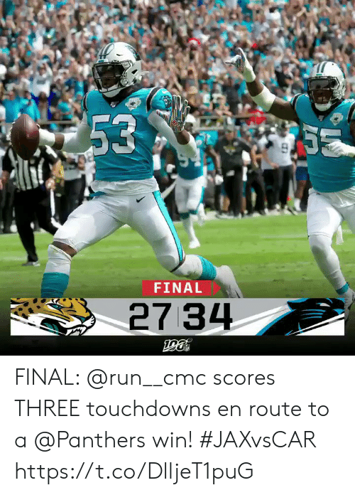 Memes, Run, and Panthers: 53  S  FINAL  27 34 FINAL: @run__cmc scores THREE touchdowns en route to a @Panthers win! #JAXvsCAR https://t.co/DlljeT1puG