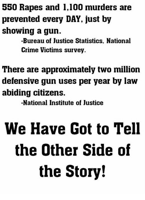 rapes: 550 Rapes and 1,100 murders are  prevented every DAY, just by  showing a gun.  -Bureau of Justice Statistics, National  Crime Victims survey  There are approximately two million  defensive gun uses per year by law  abiding citizens.  -National Institute of Justice  We Have Got to Tell  the Other Side of  the Story!