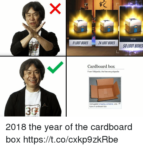 cardboard box: $59.95  11LOOT BOXES  24 LOOT BOXES  50 LOOT BOXES  Cardboard box  From Wikipedia, the free encyclopedia  corrugated shipping container, one  type of cardboard box  3 2018 the year of the cardboard box https://t.co/cxkp9zkRbe