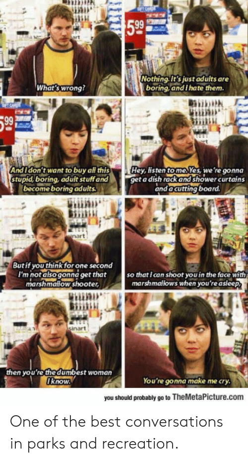 Parks and Recreation: 599  Nothing.It's just adults are  boring,and I hate them  What's wrong?  And I'don't want to buy all this  stupid,boring, adult stuffand  becomeboring adults  Hey tisten tomeJes, we're gonna  get a dish rack and shower curtains  and acutting  board  But if you thinkfor one second  I'm not also gonna get that  so that I can shoot you in the face with  marshmallows when you're asleep  marshmallow shooter,  in  nart  then yo u 're the dumbest woman  know  You're gonna make me cry  you should probably go to TheMetaPicture.com One of the best conversations in parks and recreation.