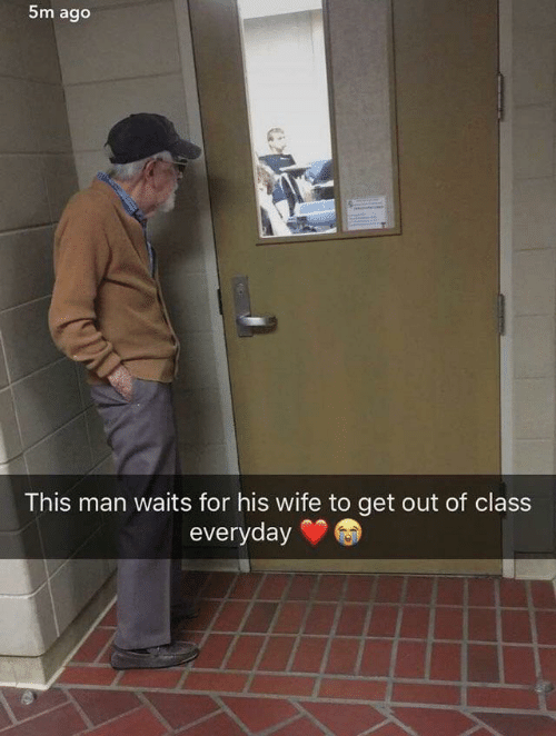 Wife, Class, and Man: 5m ago  This man waits for his wife to get out of class  everyday